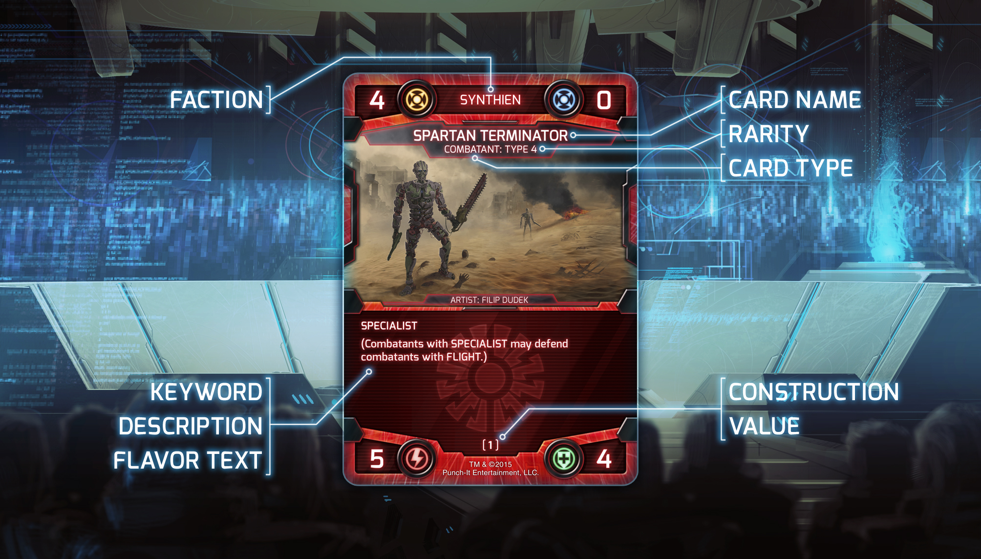 The fine print: Faction, name, rarity, keywords/abilities, and construction value