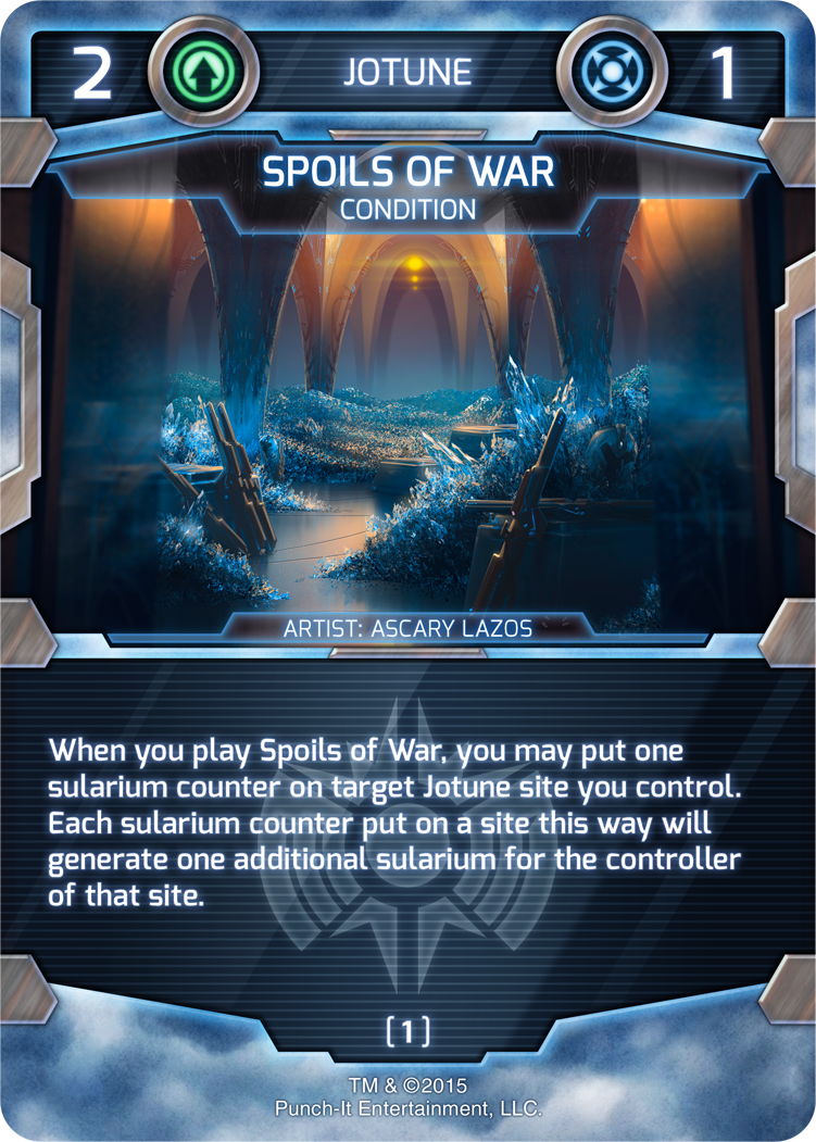 Conditions are another, albeit less common, generator of sularium. Spoils of war doesn't only give you a resource boost, it makes another of your sites more productive too!