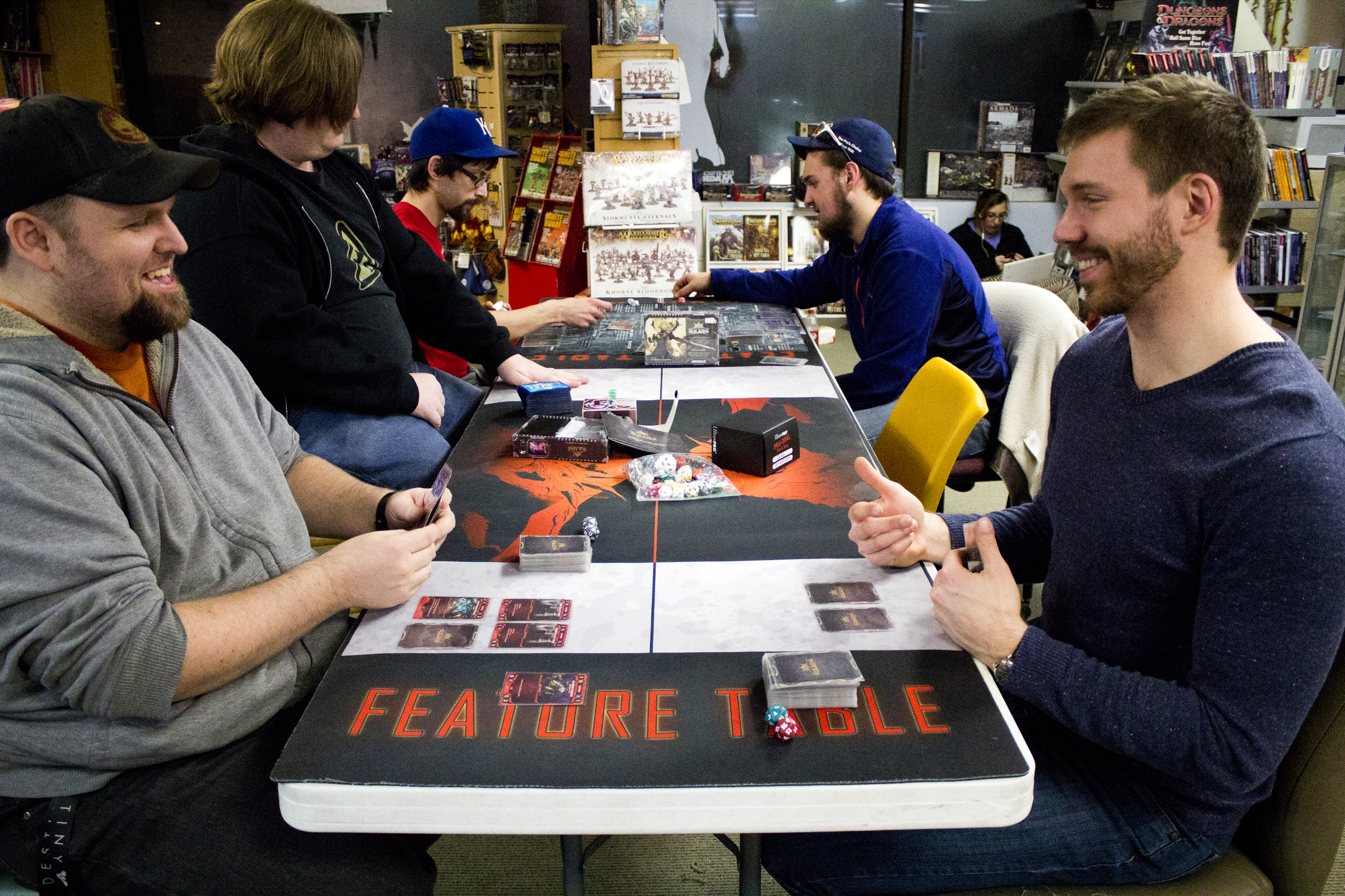 On the right –Matt Ochs giving out some pro tips at his local gaming store.