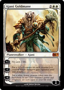 Ajani Goldmane, a Legendary Planeswalker in Magic The Gathering Copyright Wizards of the Coast