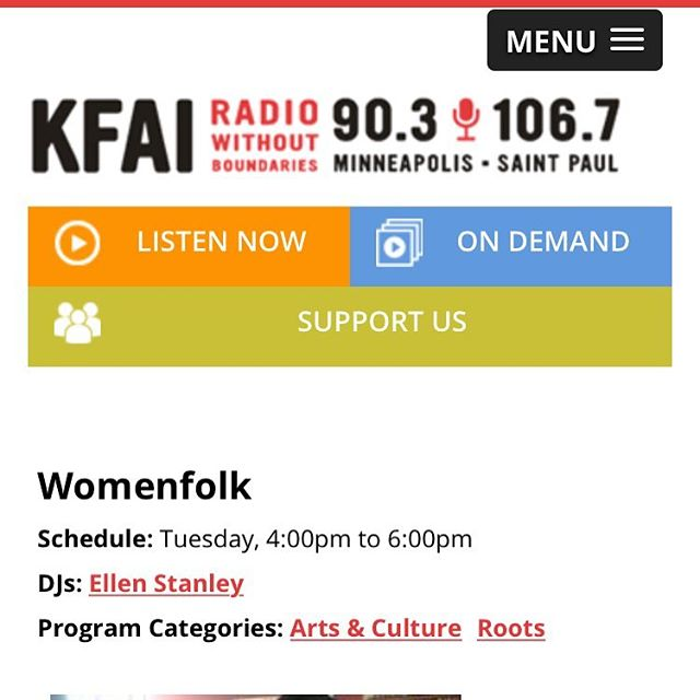 Tune in to 90.3 KFAI (or live stream at KFAI.org) today at 4:30! We'll be singin' songs and chatting with Ellen Stanley on her fabulous Womenfolk program!