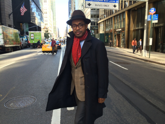 Unbranded coat (consignment shop), jacket by Isaia, shirt and foulard by Brioni, trousers by Gant, hat by Selentino