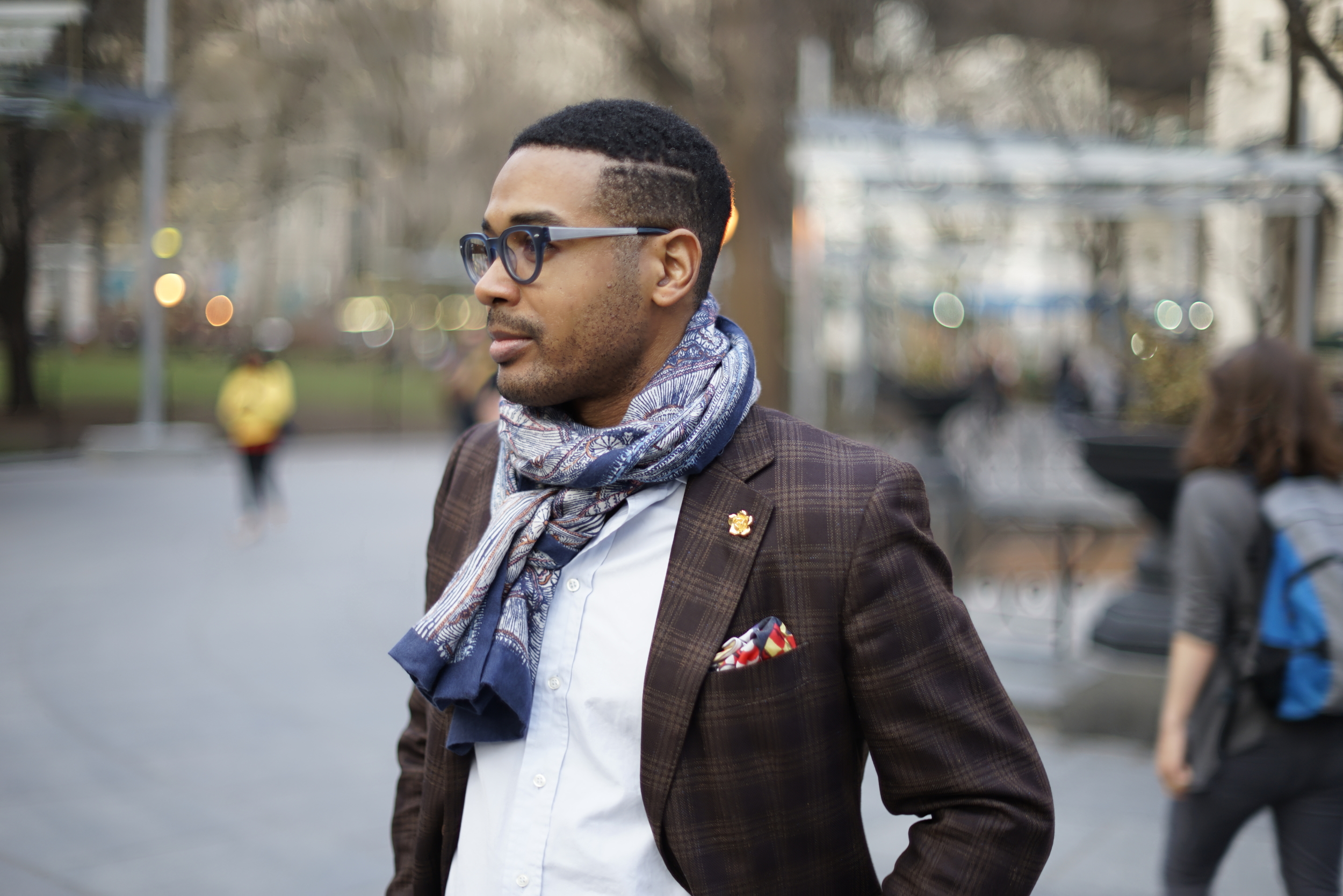Silk/wool scarf from J.Crew, Jacket and shirt from Barney's NY, pocket square from Kent Wang, frames from SEE Eyewear, lapel pin from by Elias
