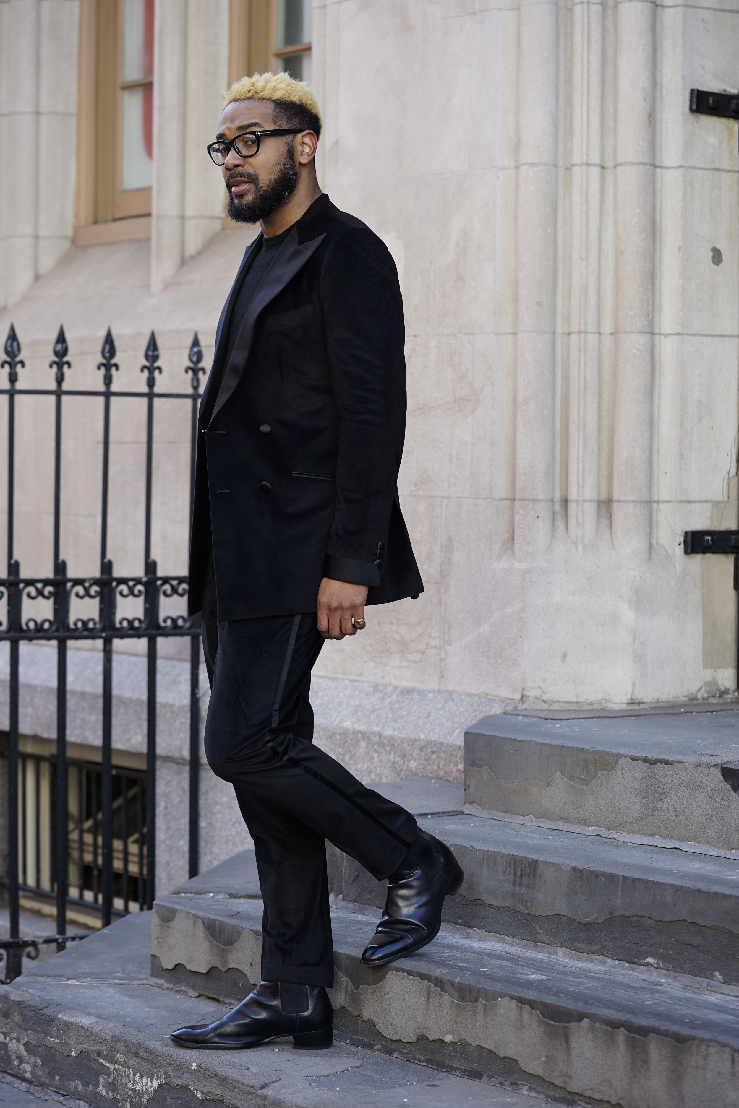 Double breasted velvet jacket and trousers by Kamsten, Chelsea boots by Saint Laurent, Frames by Tom Ford