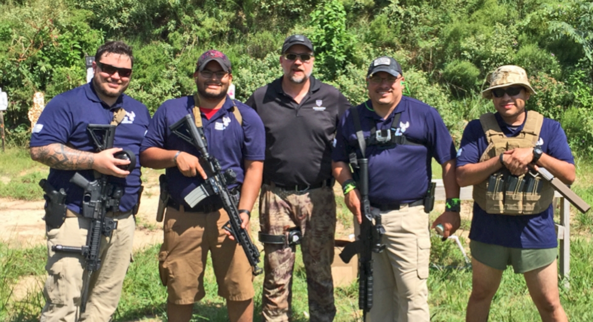 Range Day Competition @    Magnolia Hunting Supply    Range in Magnolia TX. Texas / Gulf Coast Fighting Shooting Team from Left: Jason Kugler, Daniel Alfaro, Jerry Hébert (Board Liaison), Armando Clark Jr. (Team Captain) and Francisco Witron.