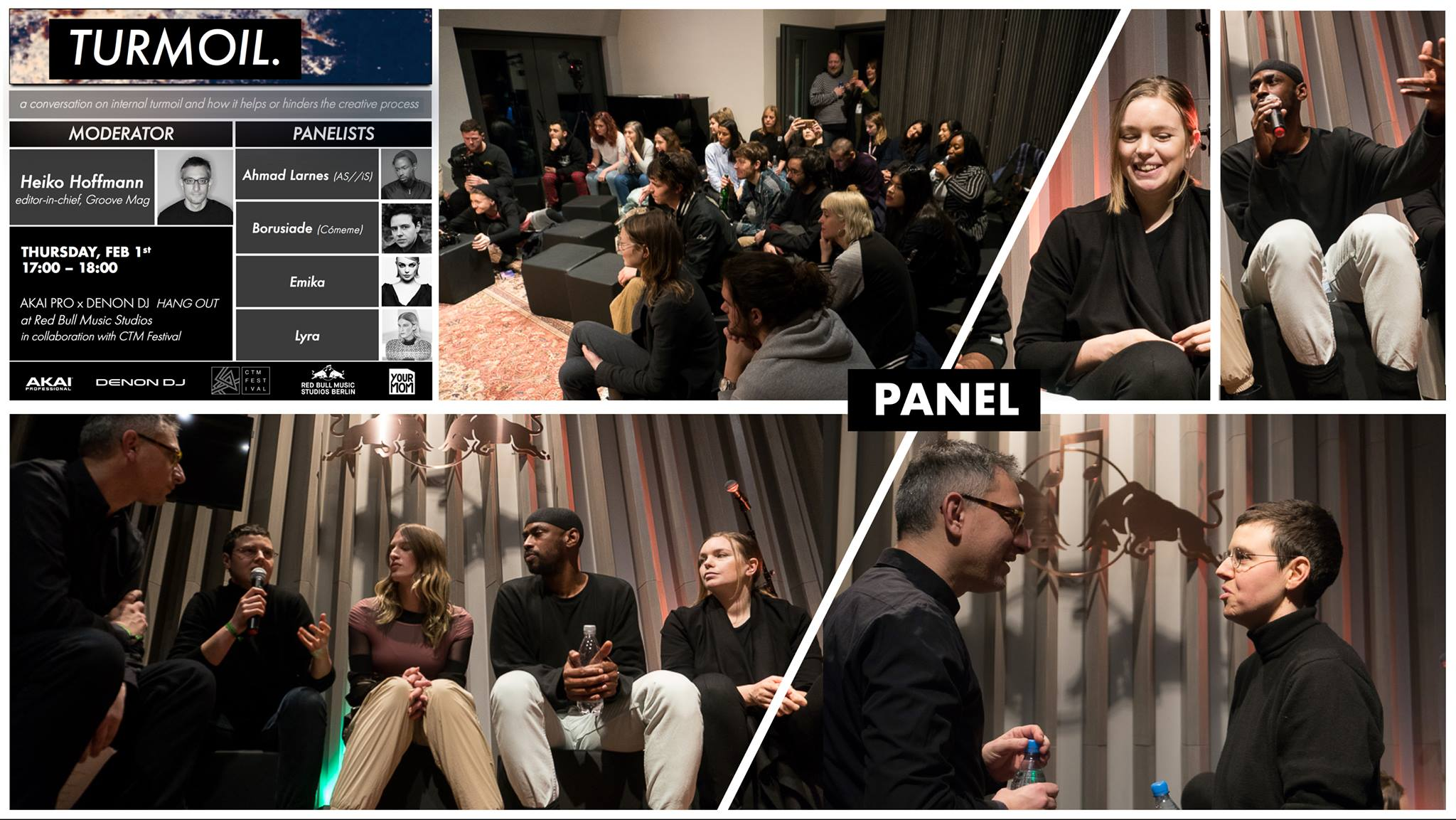 PANEL:  A conversation on internal turmoil and how it helps or hinders the creative process   Moderator:  Heiko Hoffmann ( GROOVE-Magazin )  Panelists:  Borusiade, Lyra Pramuk, Ahmad Larnes, Emika  A touching and inspirational talk. So much talent in one room altogether from inspiring influencers, innovators, and artists based in Berlin.