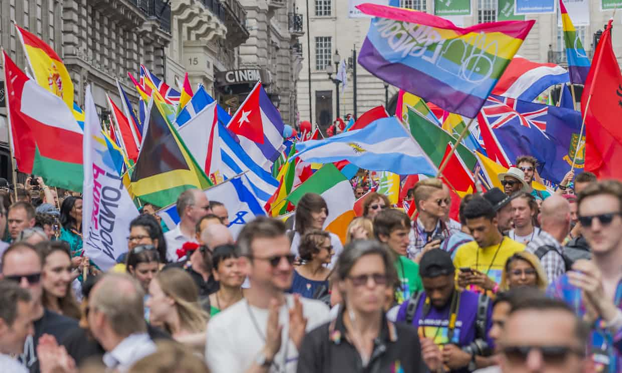 Pride celebrations in London. The capital had the highest proportion of people identifying as lesbian, gay or bisexual. Photograph: Guy Bell/Rex/Shutterstock