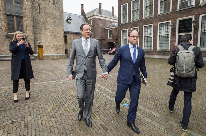 """LEX VAN LIESHOUT VIA GETTY IMAGES  """"We think it is quite normal in the Netherlands to express who you are,"""" Alexander Pechtold (left) said."""