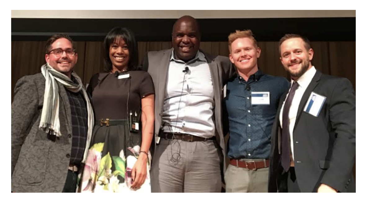 (L to R from the 2017 Forum: Brian Tolleson, CEO, Lexicon Strategies and Partner, Bark Bark, Tamara Stewart, EVP, Development, GLADD, Derrick Grissom, Regional Business Sales Manager, Comcast, Ben Delk, Equality Global Programs Manager, Office of Equality, Salesforce, Ryan Roemerman, Executive Director, LGBT Institute)