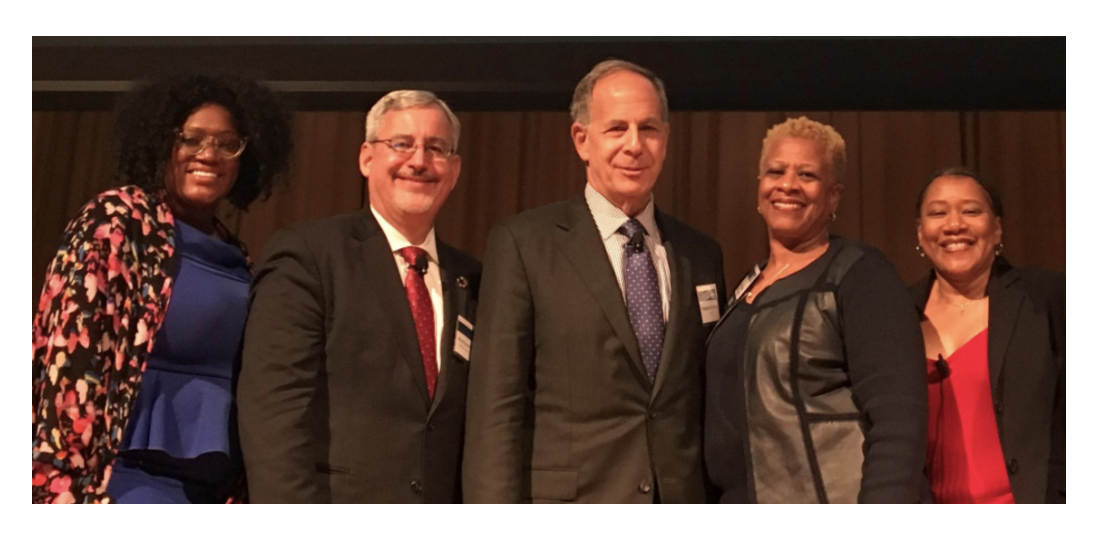 (L to R from the 2017 Forum: Nzinga Shaw, SVP, Chief Diversity and Inclusion Officer, Atlanta Hawks and Philips Arena, Matthew W. Patsky, CEO, Trillium Asset Management, Stephen M. Paskoff, Esq., President and CEO, ELI, Cynthia Bowman, Chief Diversity and Inclusion Officer, Bank of America, Rose Scott, Host, Closer Look, WABE)