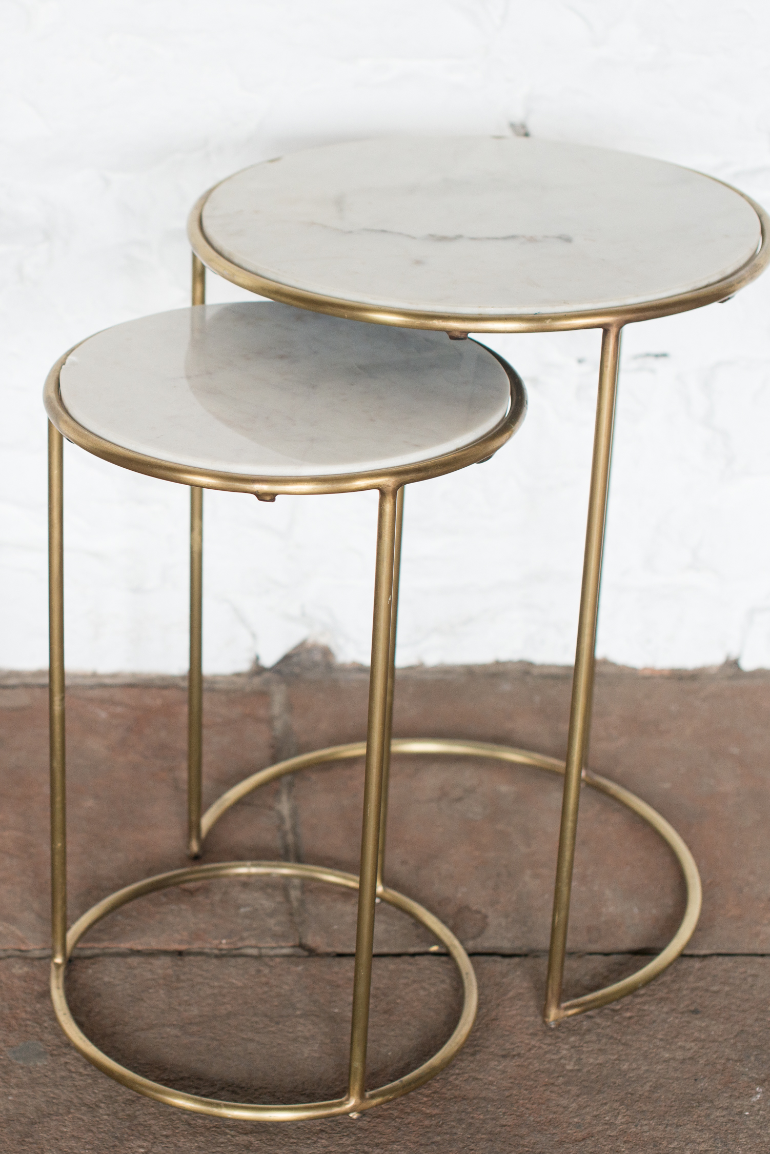Brass & Marble Nested Side Tables