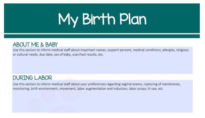 My Birth Plan