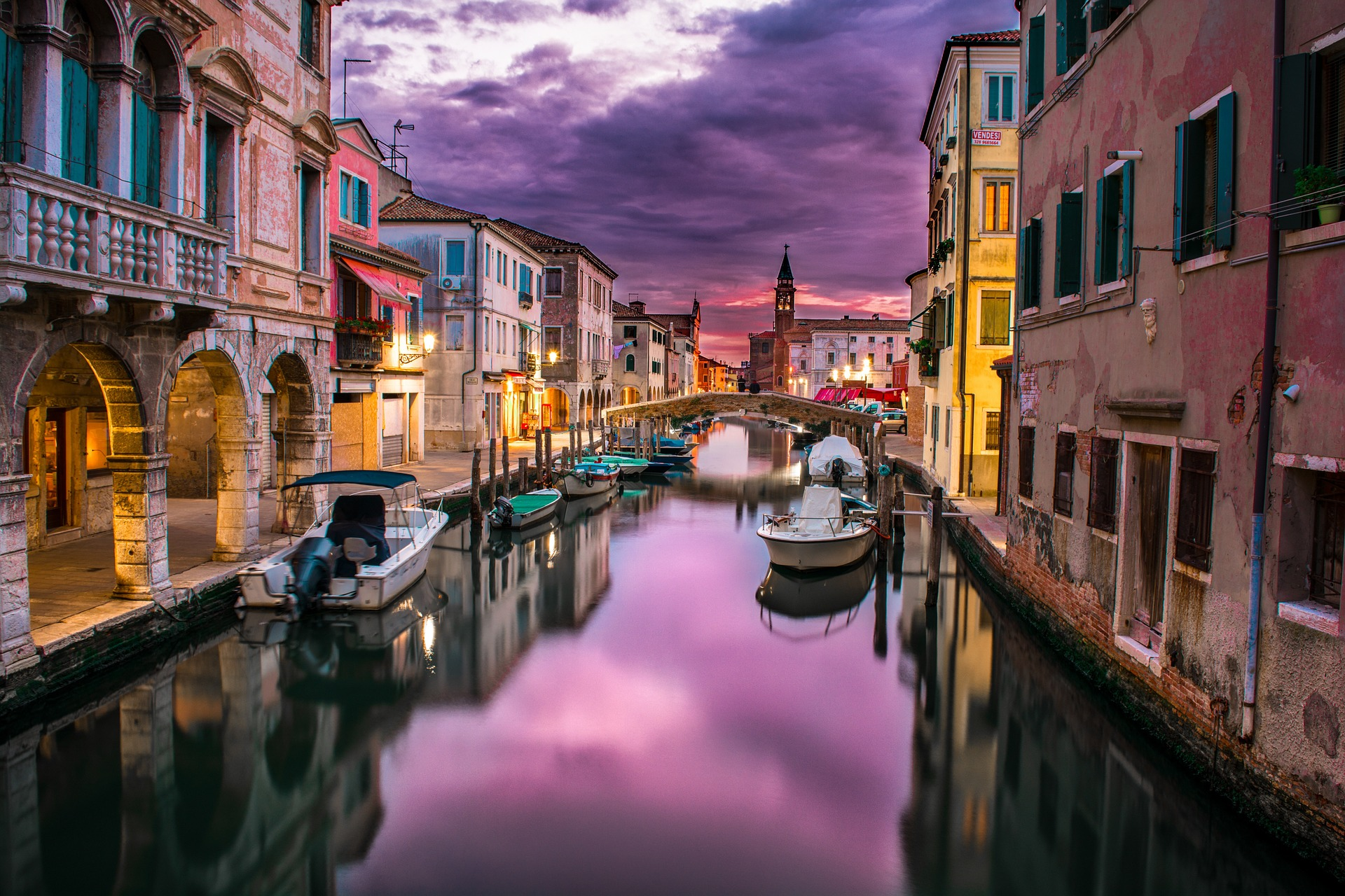 Canals of Venice at sunset
