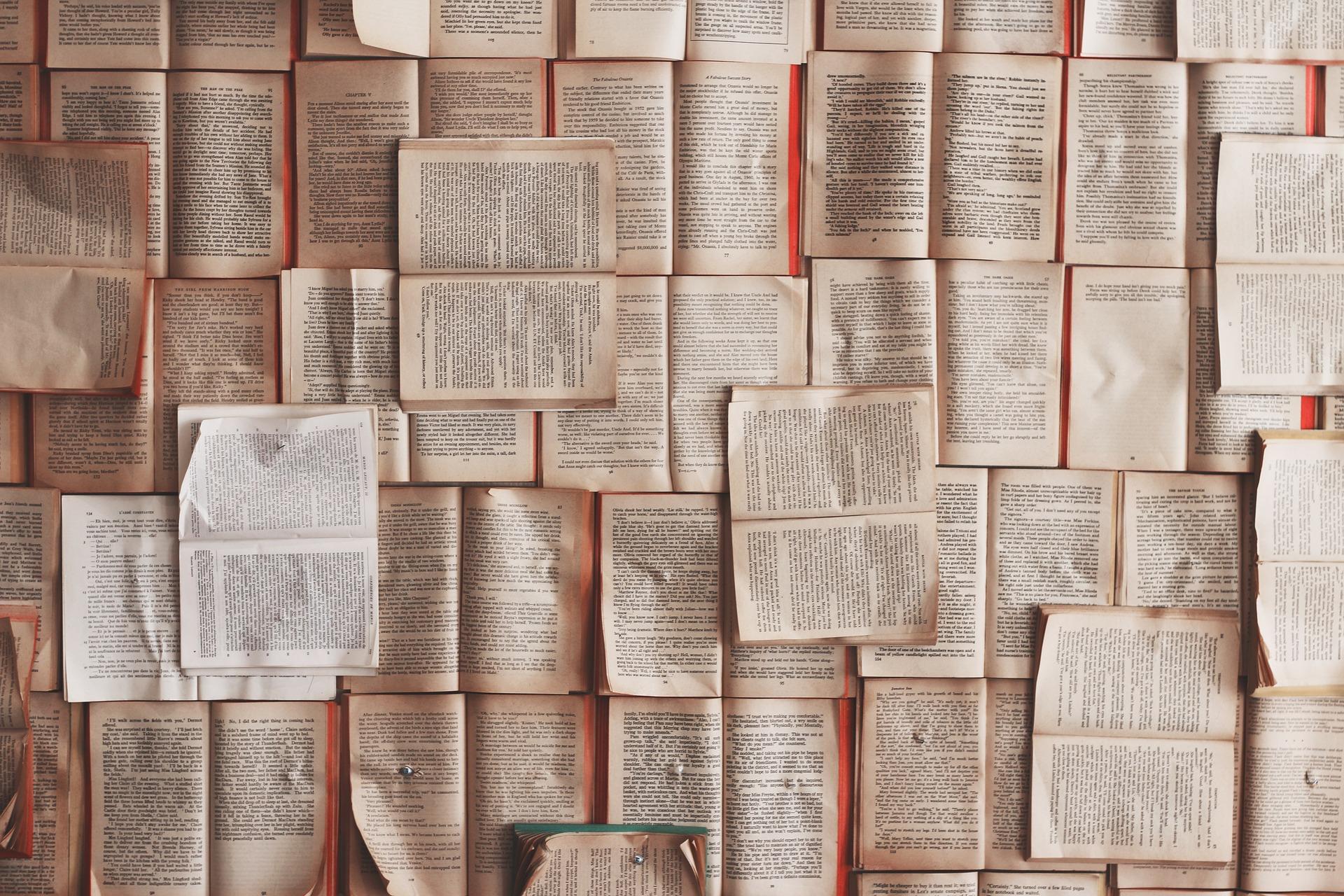 a few dozen open books arranged to cover a surface