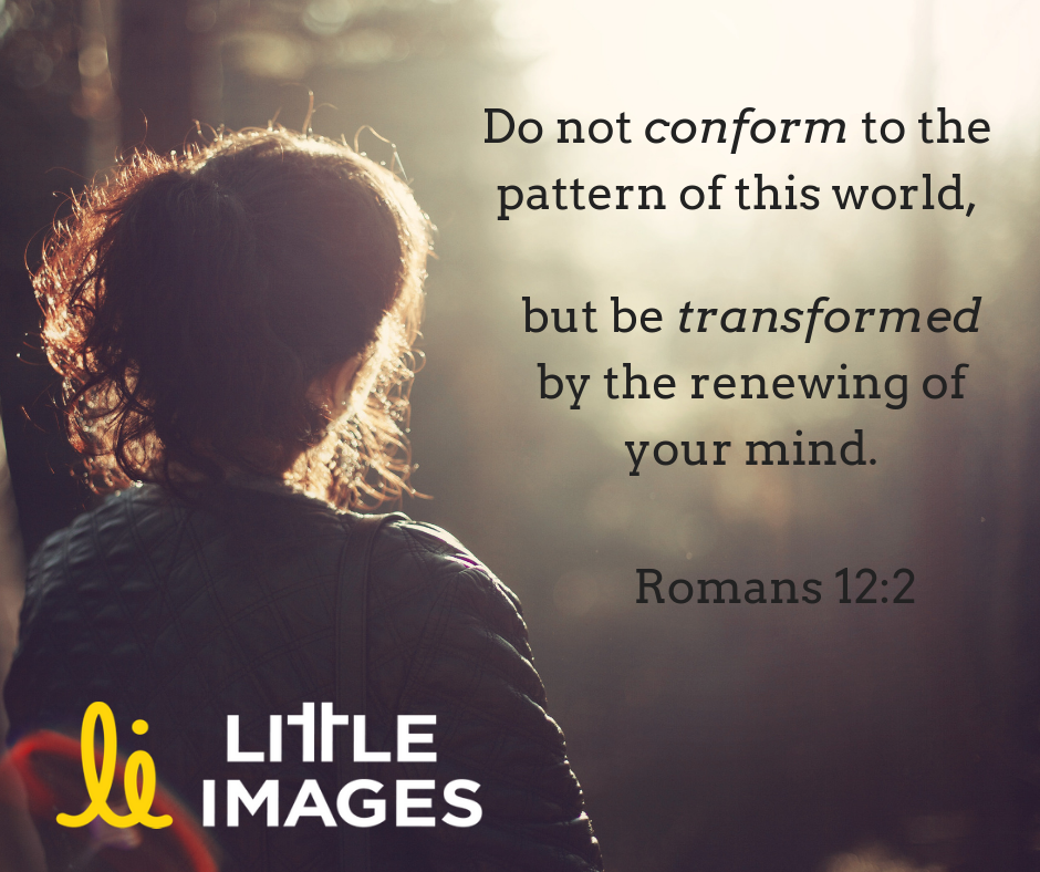 "Image: Silhouette of back of woman's head, looking into the forest. Text: ""'Do not conform to the pattern of this world, but be transformed by the renewing of your mind.' - Romans 12:2"""