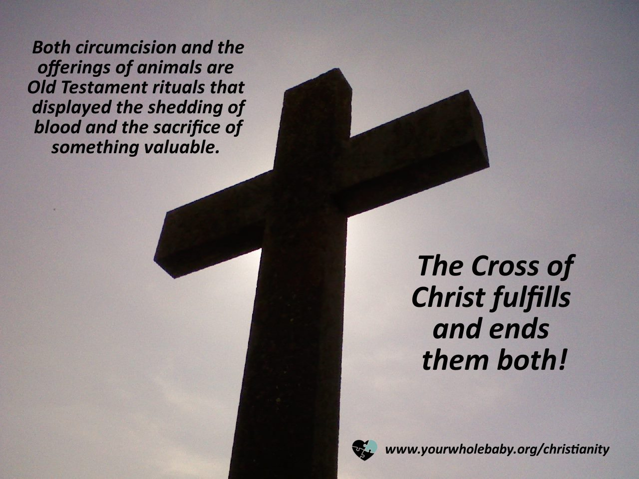 "Image: Backlit cross. Text: ""Both circumcision and the offerings of animals are Old Testament rituals that displayed the shedding of blood and the sacrifice of something valuable. The Cross of Christ fulfills and ends them both!"" www.yourwholebaby.org/christianity"