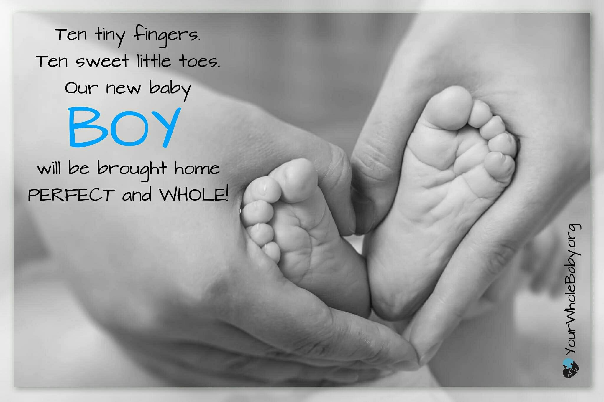 """IMG Description: Black-and-white photo of a parent's hands holding a baby's feet, heels together, in the shape of a heart. Text: """"Ten tiny fingers, ten sweet little toes. Our new baby boy will be brought home perfect and whole! Yourwholebaby.org"""""""