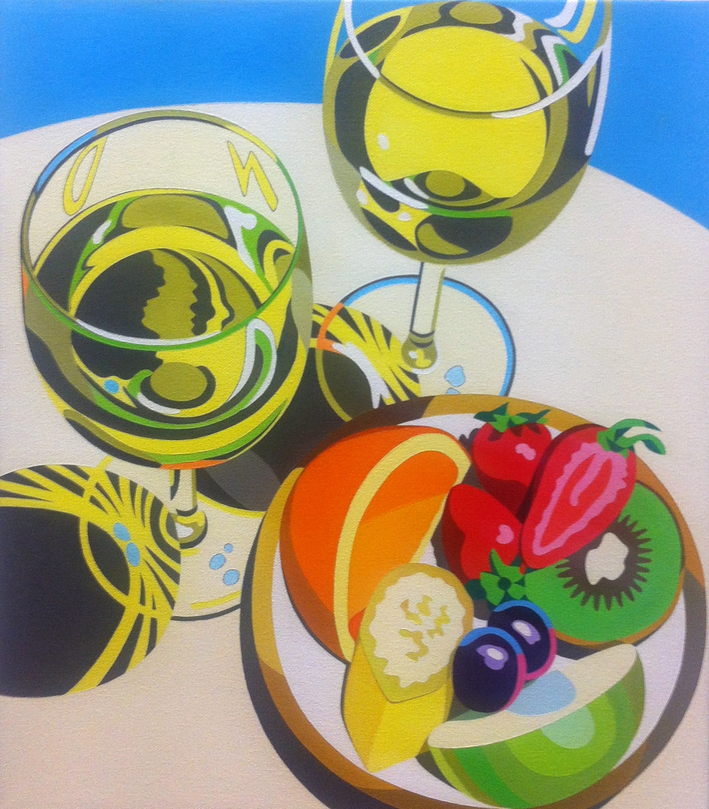 Fruit plate with wine glasses