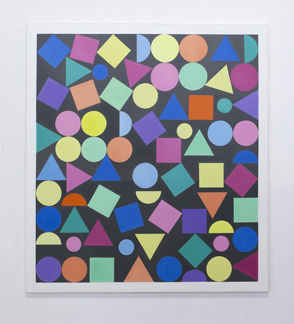 Abstract painting with Triangles, Circles and Squares