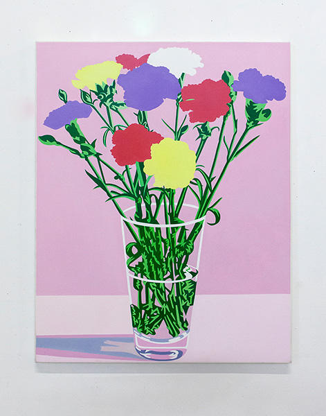 Flower painting with pink background