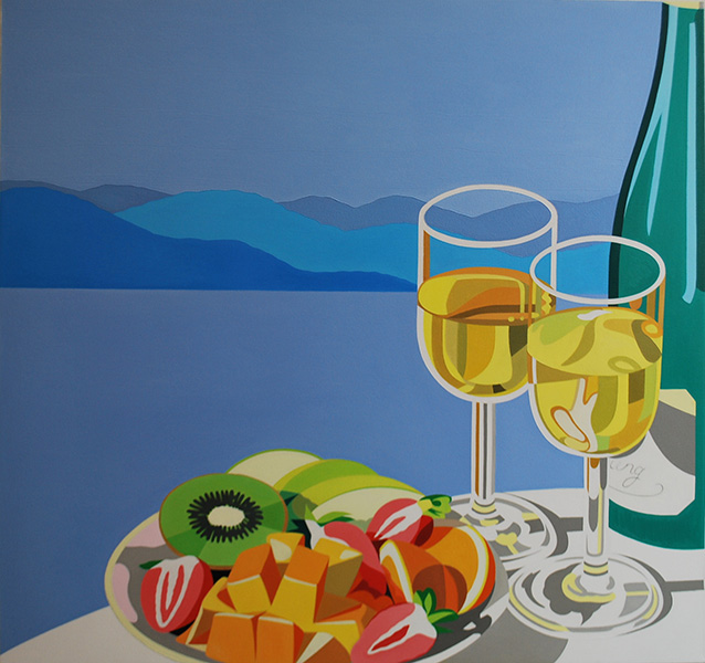 Landscape with fruit plate and white wine