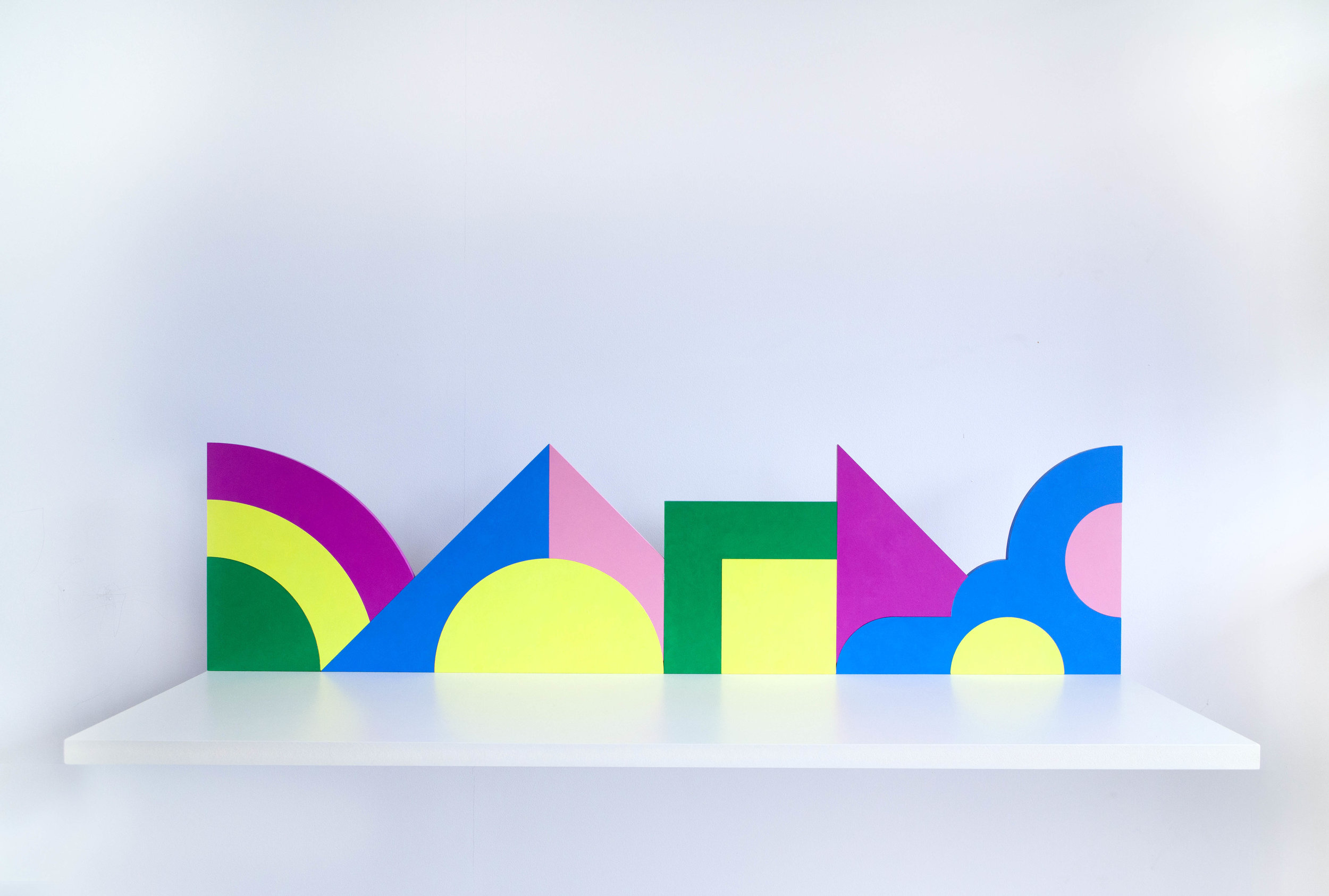 Shelf with abstract shapes #1