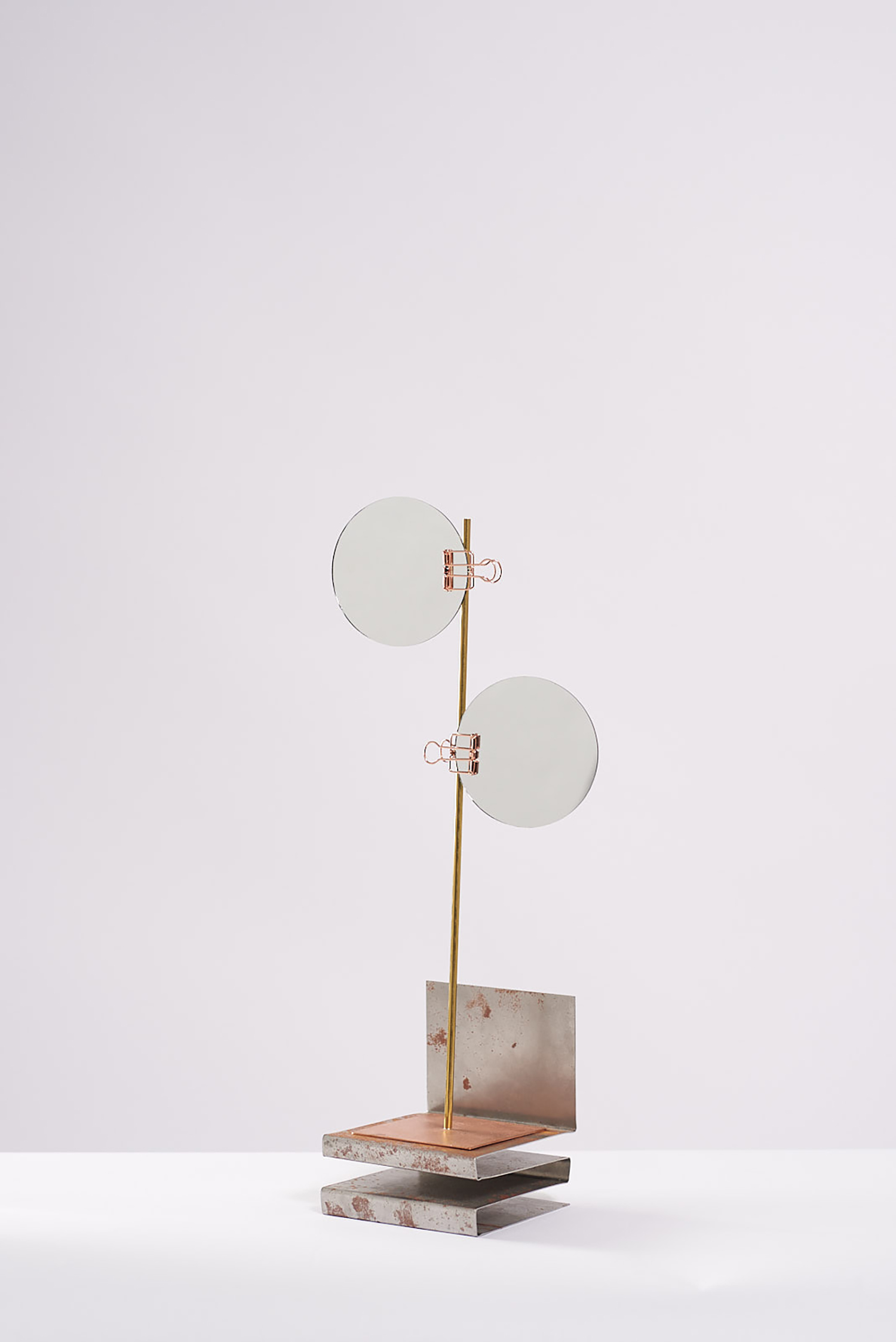 Meredith Turnbull - Standing sculpture twin mirror, 2019copper, brass, copper clips, mirror, enamel paint, steel36 x 15 x 10cm$600Enquire >>