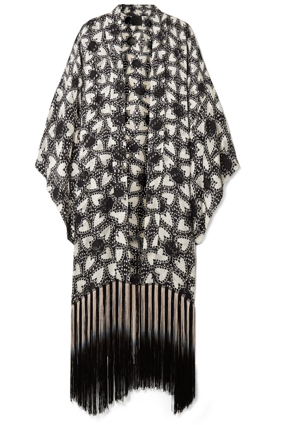 Anna Sui - Chasing Hearts Fringed Metallic Fil Coupé Silk-blend Chiffon Kimono - Black $600  - AT NET-A-PORTER
