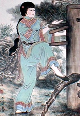An artist's depiction of Yim Ving Tsun training on a Muk Yan Jong.