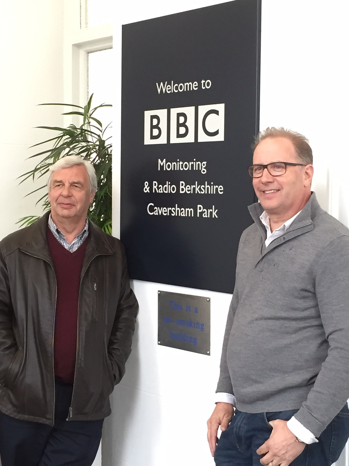 Producer John Castell and Playwright Scott Wright at BBC Berkshire, Caversham Park, after their 14 May 2015 'live' interview about the play with BBC's Lynn Parsons.