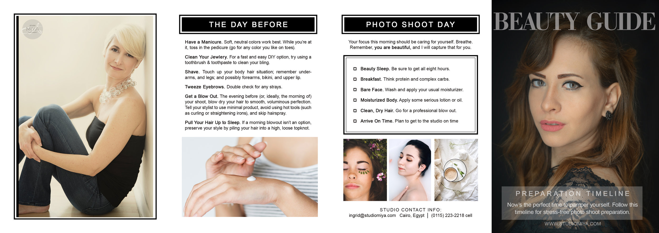 Beauty Guide MIYA 2019 - what to do they day before and on photoshoot day
