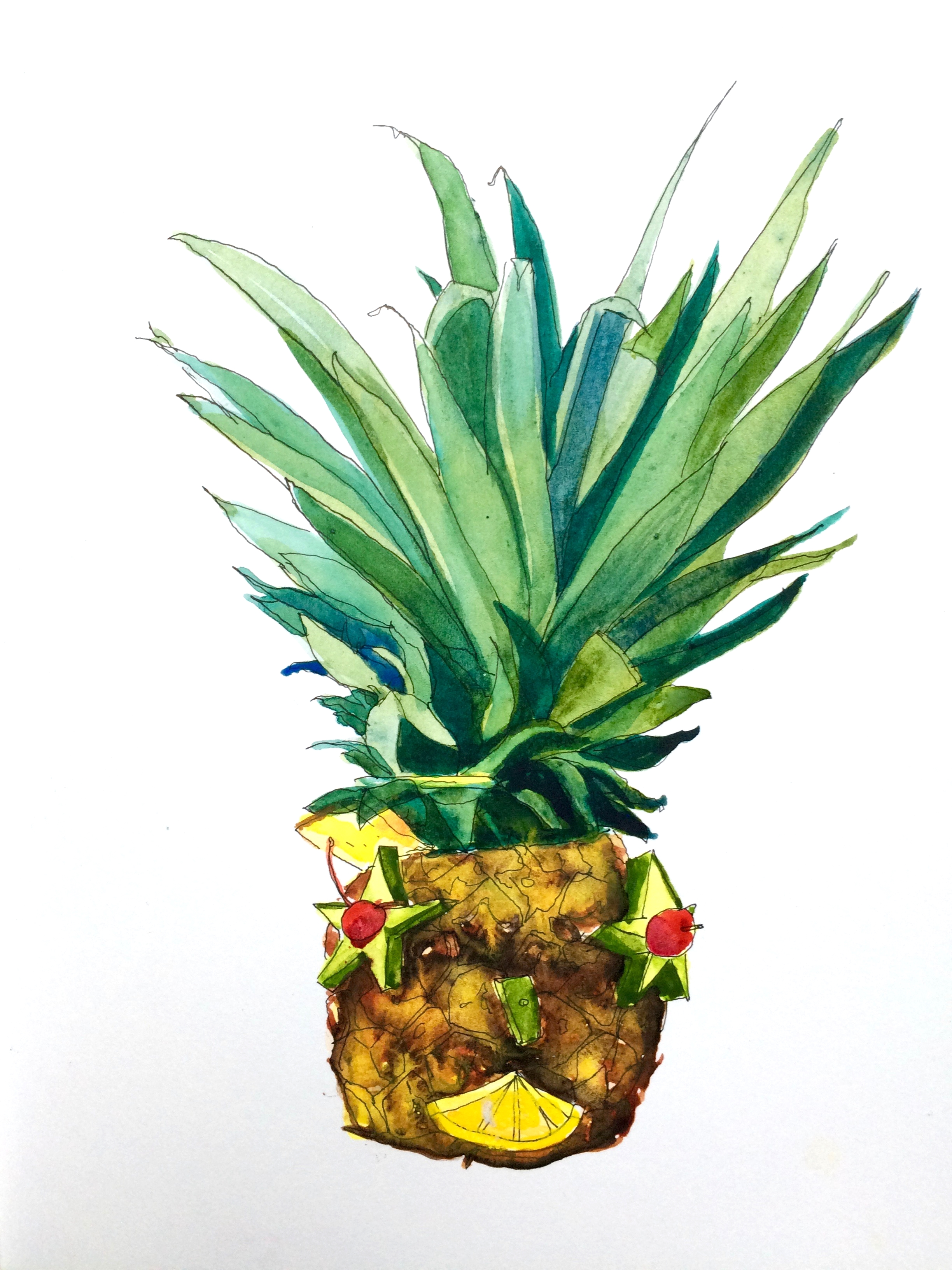 This was Mandy's handsome cocktail, served in a pineapple. ¡Salud!
