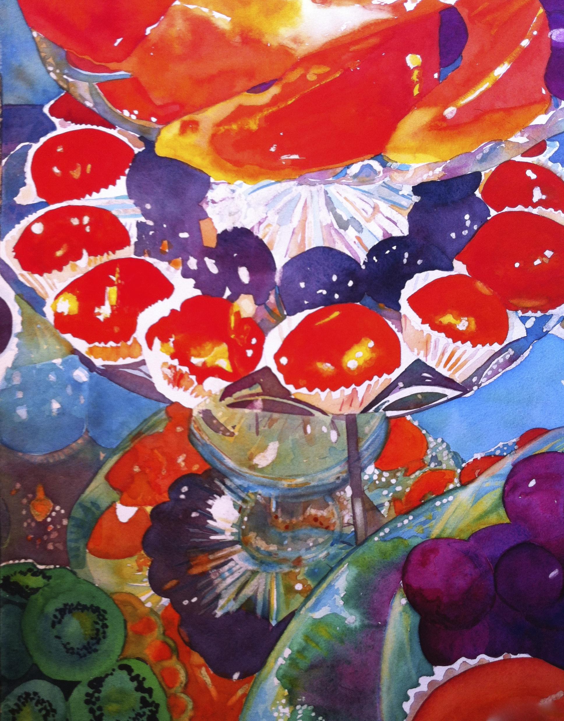 London Sweets  Watercolor, 19 x 15
