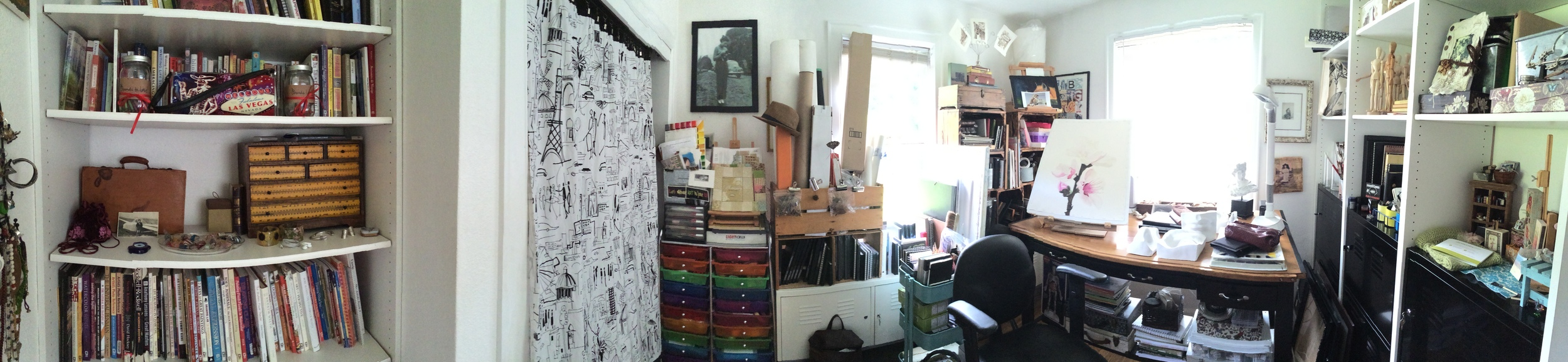 My studio, crammed with things I love: books, supplies, cast models, shells, and sunlight.