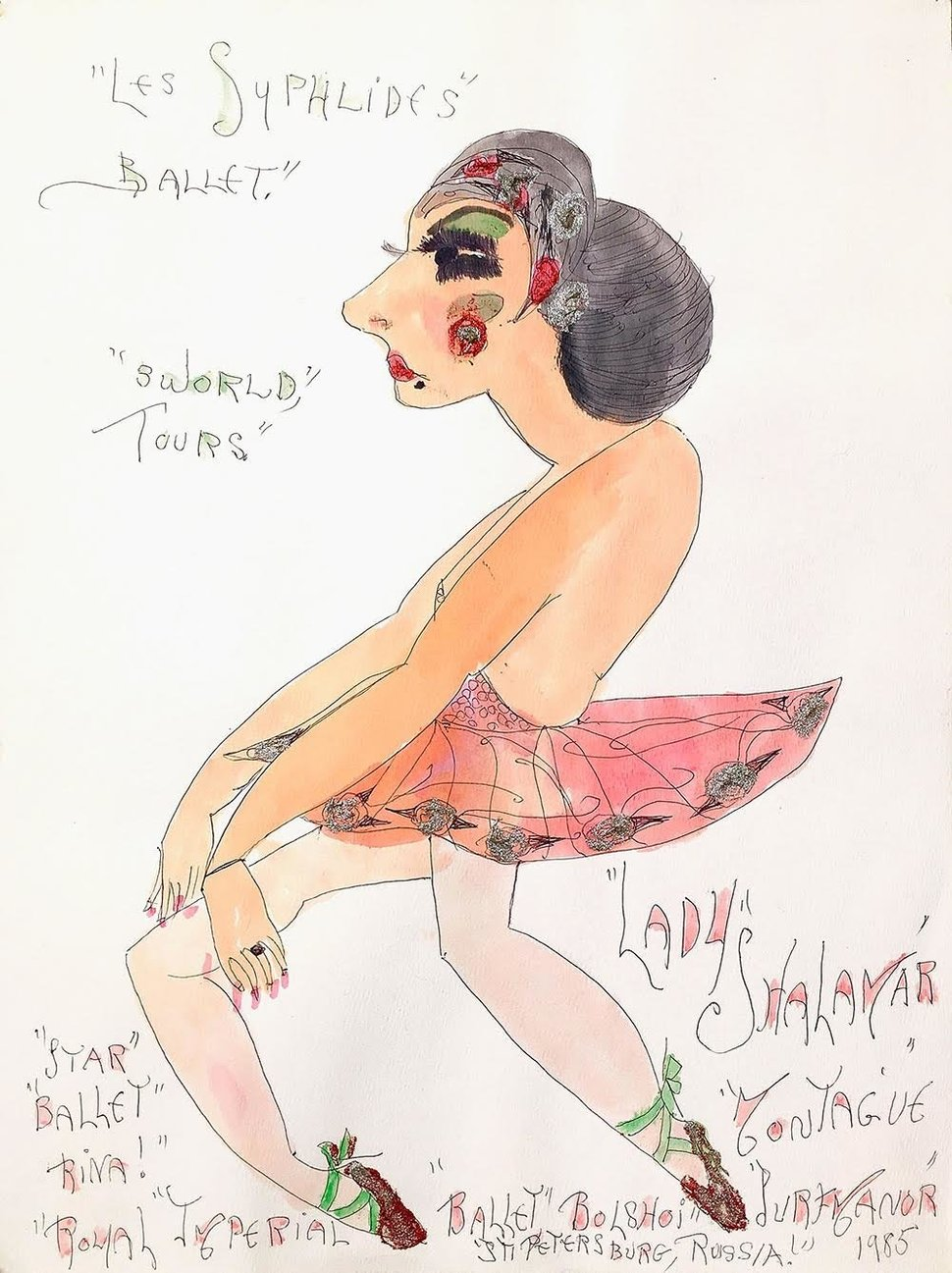 "Lady Shalimar Frances Montague, ""Les Sylphildes Ballet 3 World Tours Star Balletrina"" 1985 watercolor ballpoint glitter on paper"