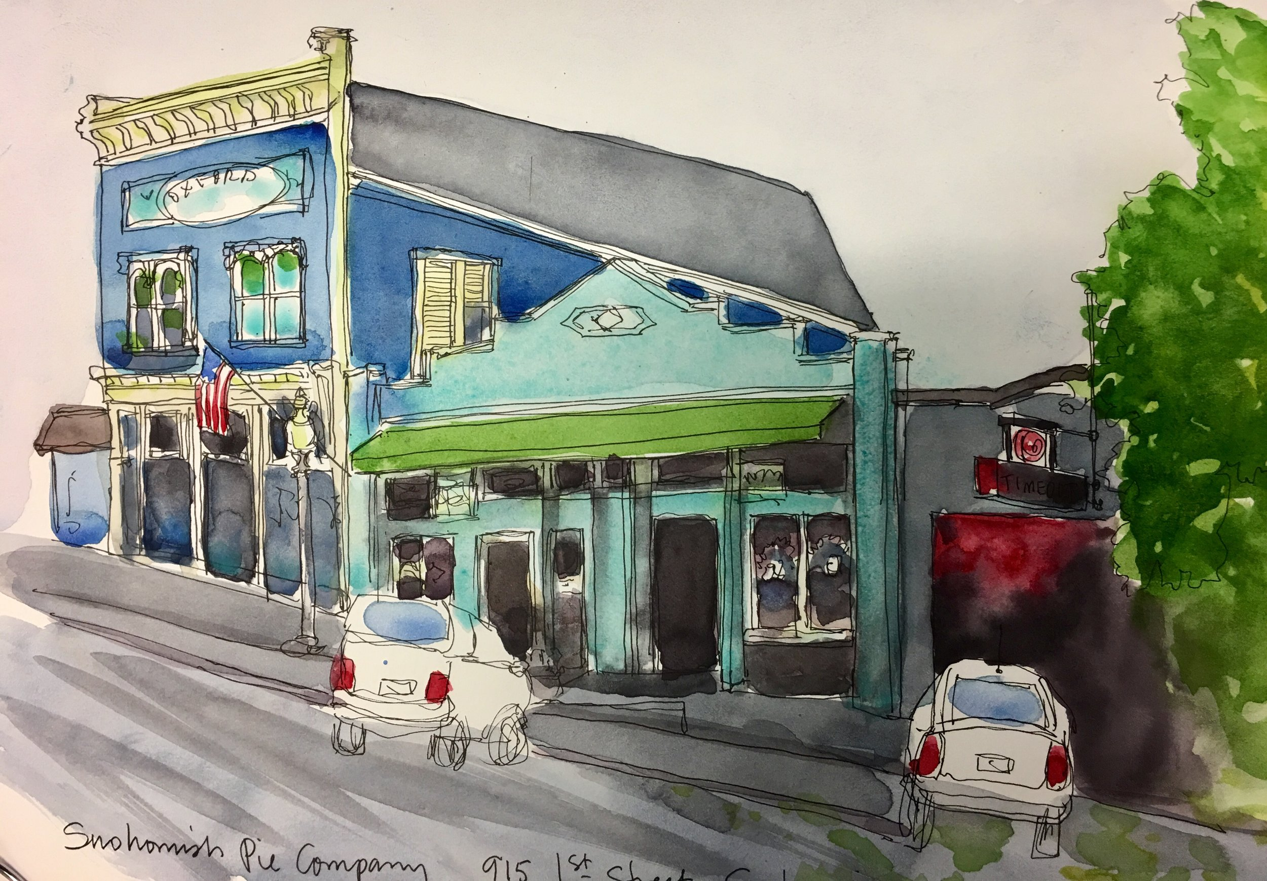 Another one of my sketches of downtown Snohomish