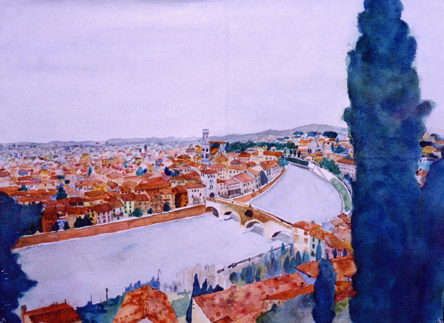 In 1984 I took on this ambitious watercolor of Verona, Italy where I grew up and where my family still lives now.