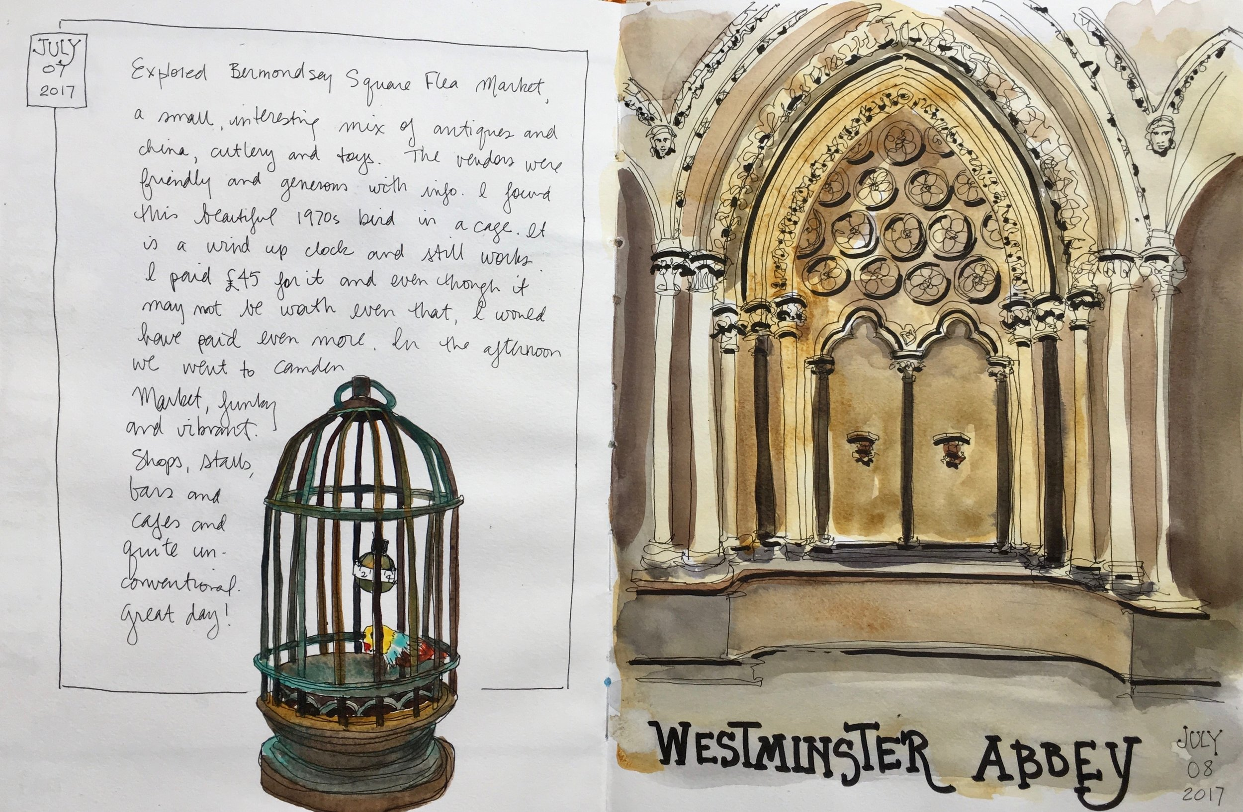 We explored a flea market looking for treasures (I found this gorgeous bird cage clock) and then we sketched on the lawn of Westminster Abbey.