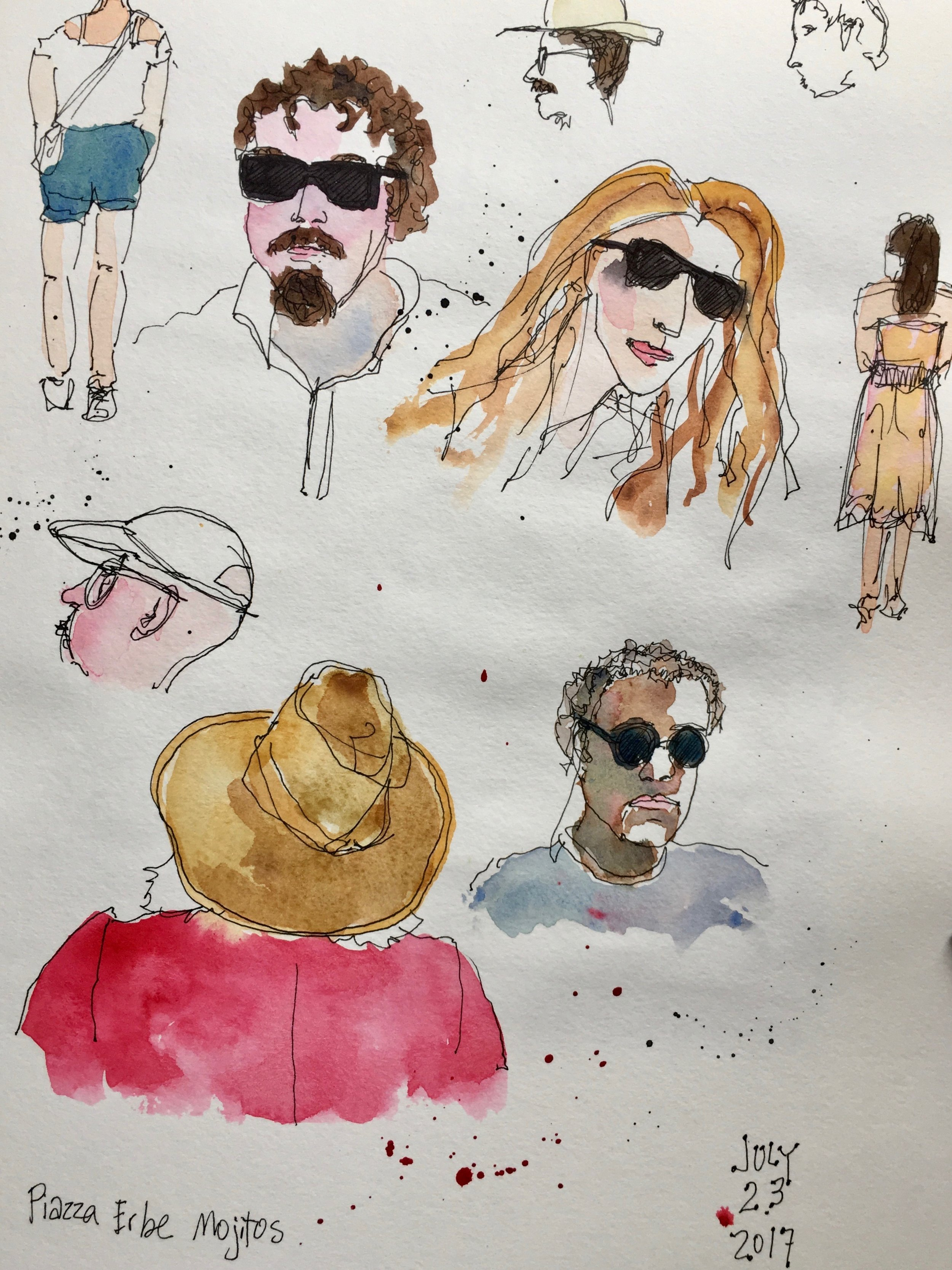 Back in Verona, we sat outdoors in Piazza Erbe, sipping ice-cold mojitos, sketching (me) and talking to a man (Dave) at the table next to us. He was from Ireland and had quite a few entertaining stories to share.