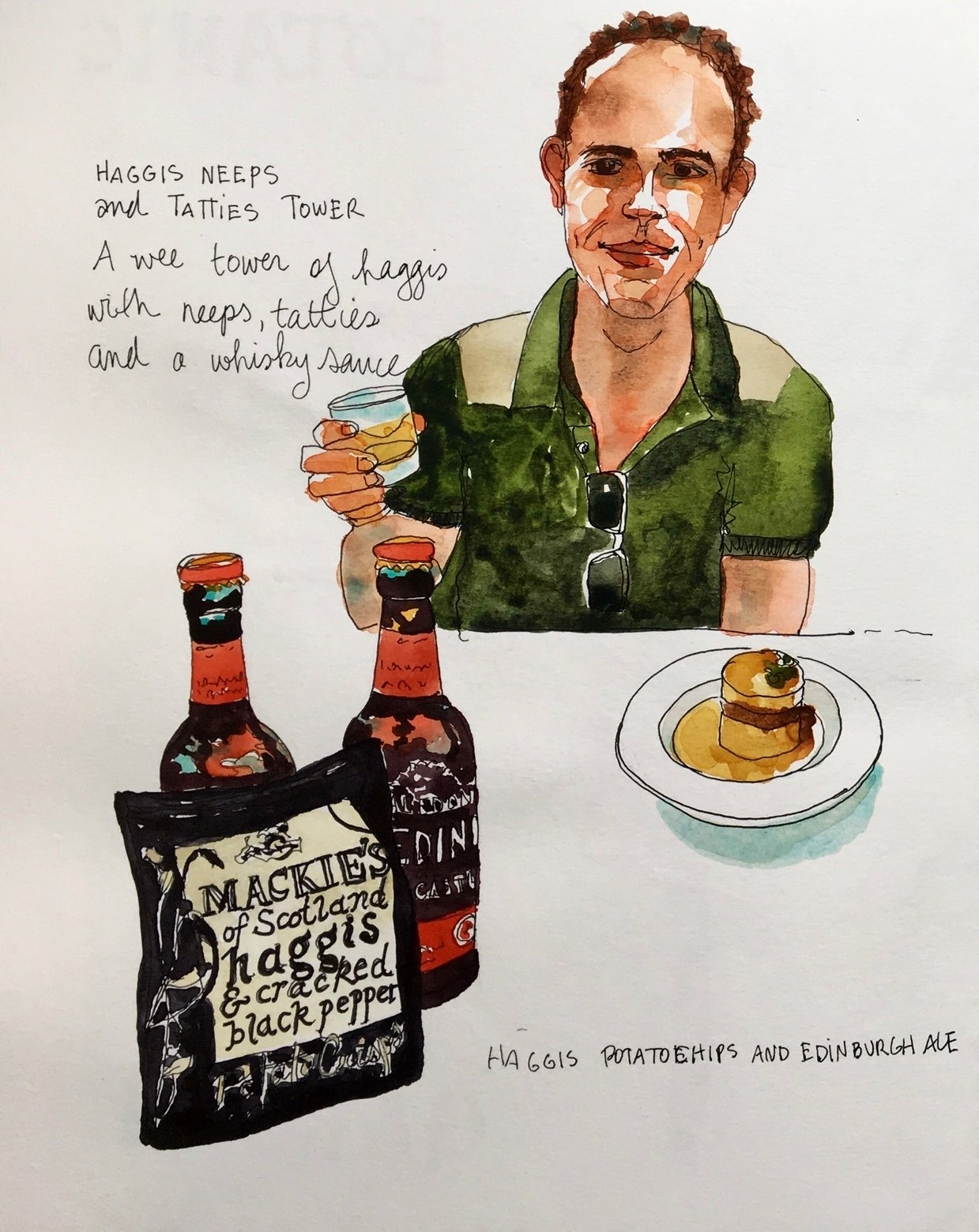 This sketch doesn't look much like my husband, Dave, but it still makes me smile every time I see it. Dave is an adventurous eater and the only one to try haggis. On several occasions.
