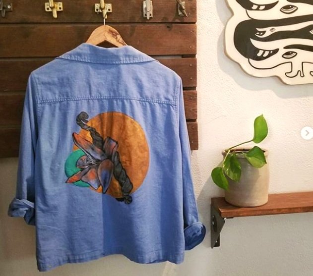 Hand-painted linen shirt, 2019. You can find this on the racks at VAMP Records in Downtown Oakland on 19th street.