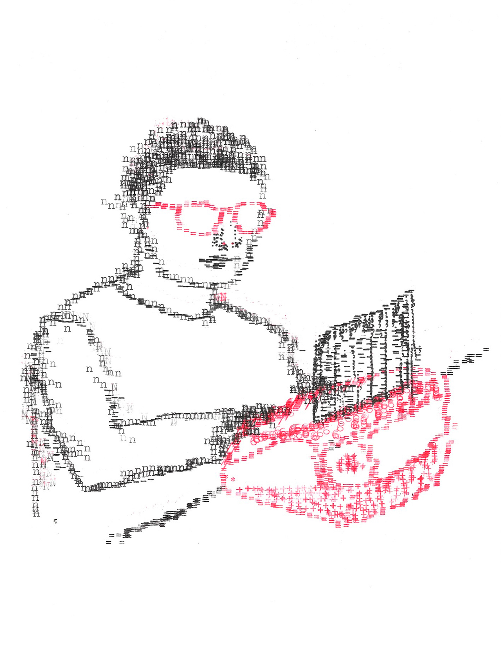 Self Portrait (Nutthawut Siridejchai), 2019, Typewriter Drawing, 8 x 10 inches