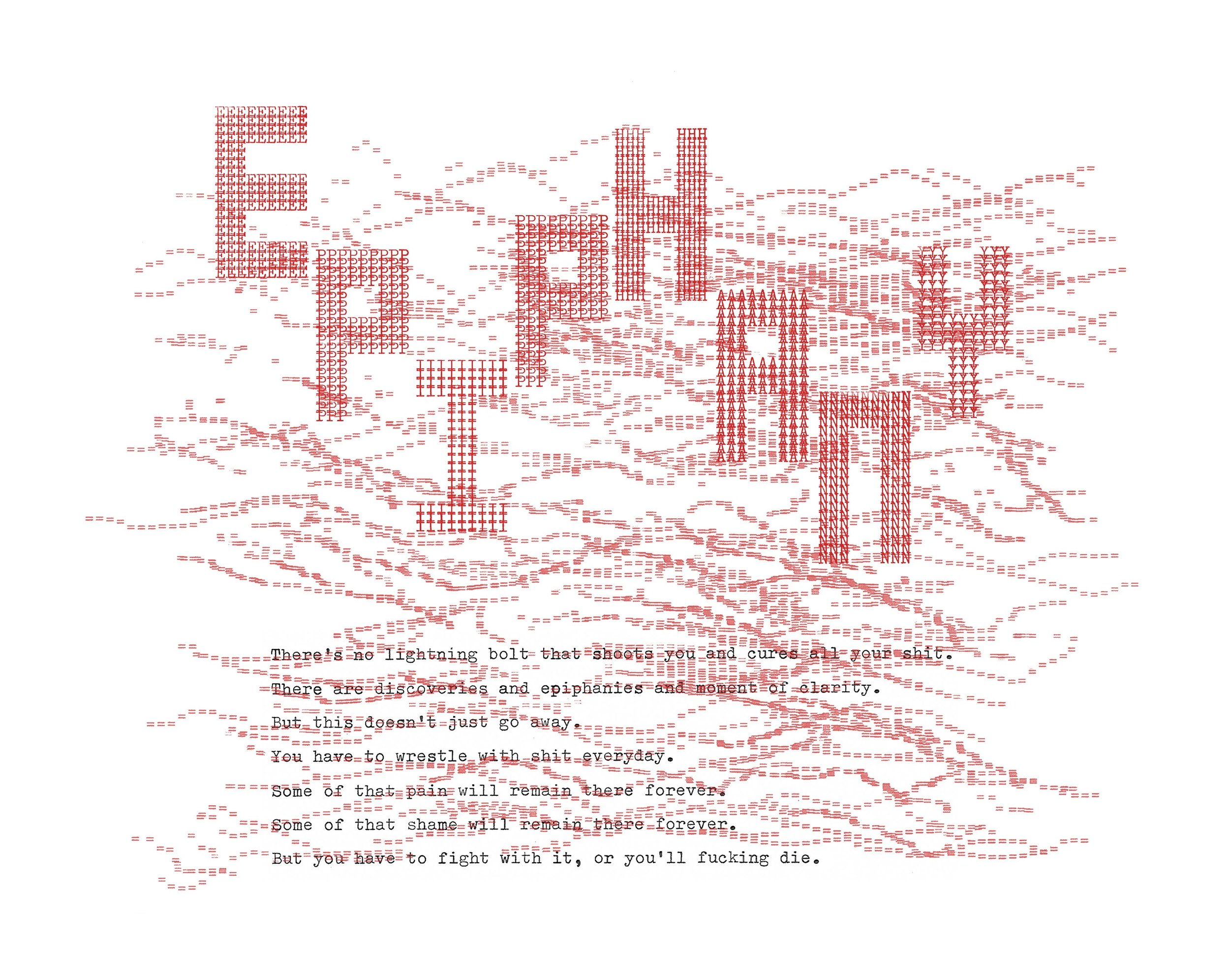 EPIPHANY, 2019, Typewriter Drawing on Japanese paper, 16 x 10 inches