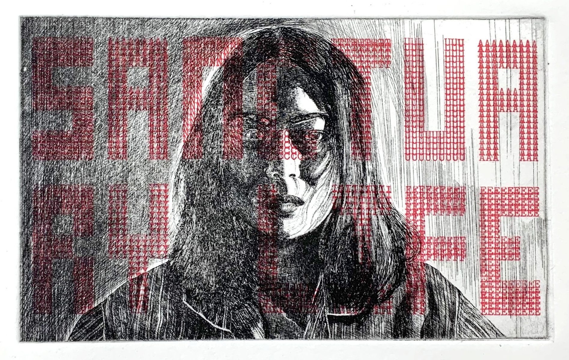 SANCTUARY LIFE, 2018, Intaglio Printmaking with Typewriter Drawing Chine-Colle, 11 x 7 inches