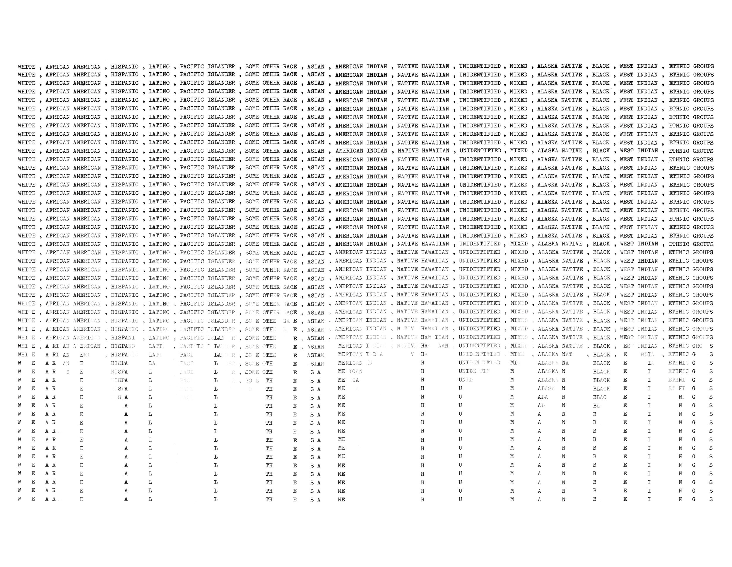 WE ARE THE SAME HUMAN BEINGS, 2019, Typewriter Art on Japanese paper, 22 x 14 inches
