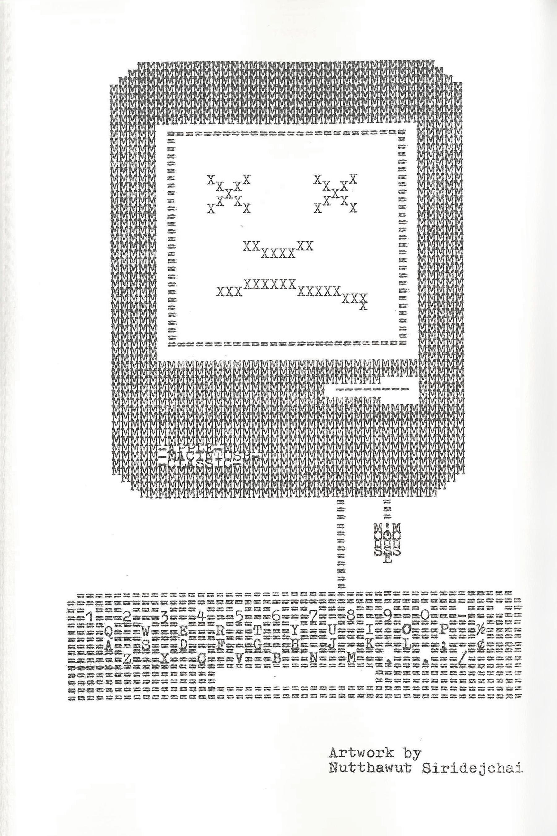 SAD MAC, 2019, Typewriter Drawing, 6 x 9 inches on page 66