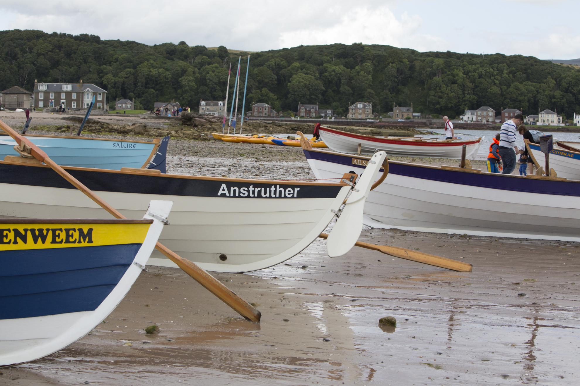 Skiffs are lined up for the Sail and Oar event on Cumbrae.
