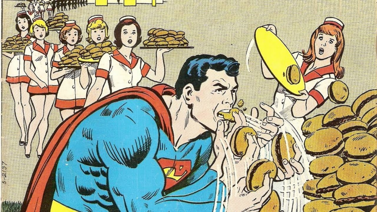 Superman enjoying his first meal