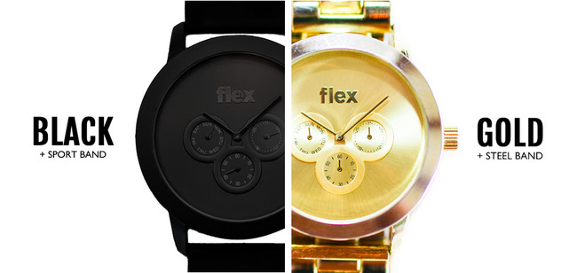 Black and Gold Flex Watches