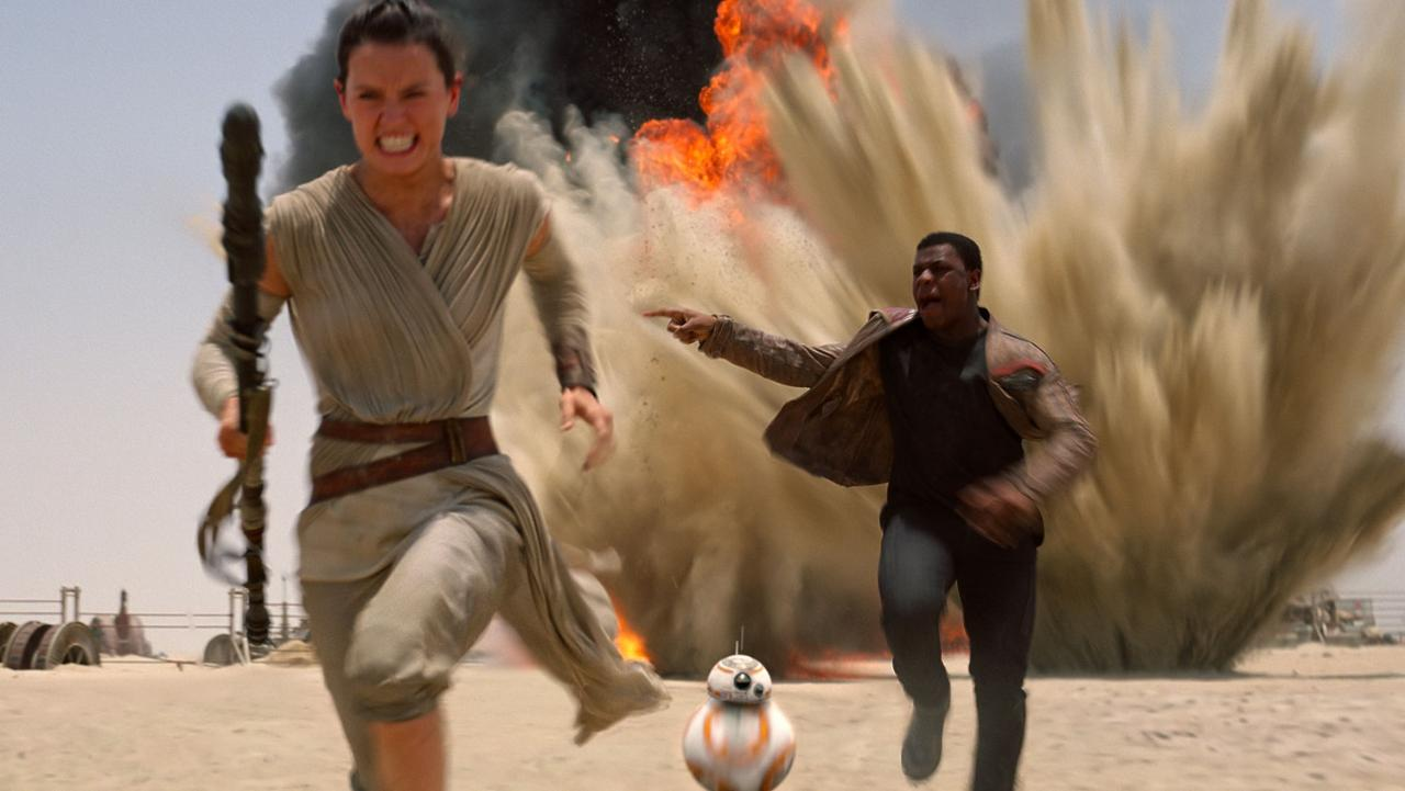 Rey, BB-8, and Finn